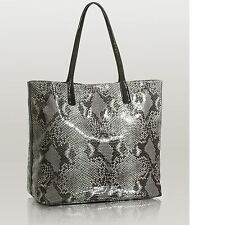 New Women's GUESS Velocity Black Crocodile & Python Embossed Large Tote Handbag