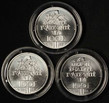 1986 (3) Silver 100 Franc France Piedfort Statue of Liberty - Free Shipping USA