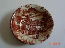 J Broadhurst & Sons England SWAN INN Brown And White Dessert Bowl