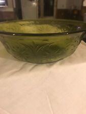 Glass Salad Serving Bowl Green  Textured
