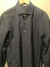 Hugo Boss 44 17 1/2 Regular Fit Blue/Black Checkered Dress Shirt Free Shipping!
