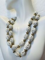 1900's Vintage Monet Round White Tone Spheres Filigree Necklace & Earrings Set