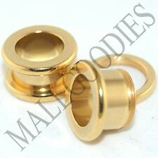 1491 Screw on/fit Steel Anodized Gold Tunnels Earlet Ear Plugs 00 Gauge 00G 10mm