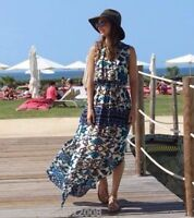 ZARA BLUE BEACH HOLIDAY MAXI DRESS SIZE M MEDIUM REF 7828 095