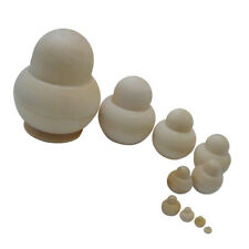 DIY Set of 10 Pieces Blank Unpainted Wooden Russian Nested Dolls 6 inch