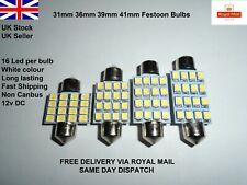 31mm-41mm Car Festoon White LED SMD Light Bulbs Lamps Interior C5W SV8.5 12v UK