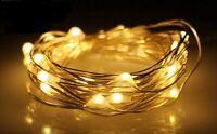 Stringa serie 20 luci di Natale micro led bianco caldo a batterie impermeabile e