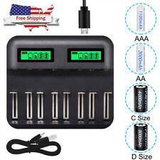 8 Slots LCD Display USB Battery Charger for AA AAA C D Size Rechargeable Battery