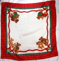 """Avon Ladies Polyester Scarf 35"""" X 35"""" Holiday Bears Surrounded In Plaid"""