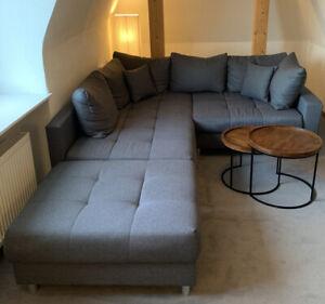 Zu Verschenken! Couch Ecksofa KENT 220cm Grau inkl. Hocker & Kissen