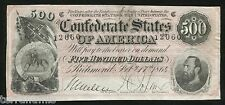 g757 USA 500 dollars 1864 - Confederate States of America – Richmond – Civil War