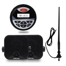 "4"" Marine Stereo Package Bluetooth Radio+4"" Black Car Box Speakers+FM AM Antenna"