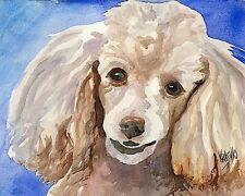 Poodle Art Print Signed by Artist Ron Krajewski Painting 8x10 Dog