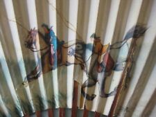 Vintage Asian Chinese Paper Folding Hand Fan Horsemen Lacquered Tortoise Bamboo