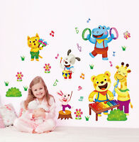 Cute Cartoon Animal Sing & Play Music Concert Wall Sticker Decal Baby Room Decor