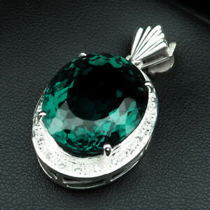 BLUE GREEN AQUAMARINE PENDANT OVAL 21.80 CT. SAPPHIRE 925 STERLING SILVER WOMAN