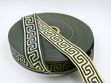 10.9yds Double Faced Jacquard Woven Ribbon/Trim Navy/Gold Greek Key