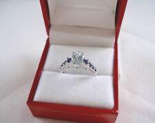 MAGNOLIA-  1.65 Ct. Aqua Solitaire with Sapphire & Diamond  10k White Gold ring.