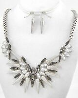 CLEAR AND SILVER STATEMENT NECKLACE AND EARRING SET 8