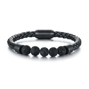 Trendy Mens Lava Stone Diffuser Bracelet Magnetic-Clasp Leather Rope Bangles