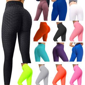 Damen Yoga Leggings Anti Cellulite Sport Fitness Laufhose Push Up TikTok Leggins