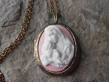 VIRGIN MARY AND BABY JESUS CAMEO BRONZE LOCKET - RELIGIOUS - CHRISTMAS - QUALITY