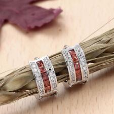 925 Silver Square Gemstone Rhinestone Earrings Ear Studs Women's Jewelry