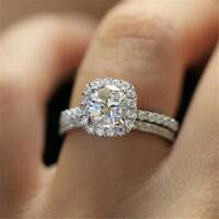 Chic 925 Silver Rings Women White Sapphire Wedding Engagement Ring Size 5-11