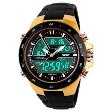 Men's Sports wrist Watch Waterproof DATE LED Digital Analog Dual Display Golden
