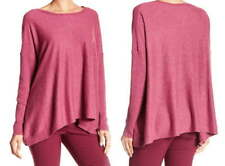 $178 Eileen Fisher Draped Boxy Speckled Sweater Small 6 8 Wild Orchid Wool Silk