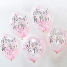 Ginger Ray Pink Confetti About to Pop Baby Shower Balloons Room Decoration X 5 -