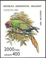 Madagascar 1993 Parrot / Macaw / UCCELLI / NATURA / Wildlife Imperf (IV) M / S (b5194)