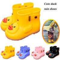 Infant Kids Children Baby Solid Cartoon Duck Rubber Waterproof Boots Rain Shoes