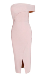 Herve Leger Bodycon Bandage Dress One Shoulder Split Front Pink A167 *S