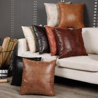 Faux PU Leather Cushion Cover Throw Pillow Case Sofa Bed Home Deco Retro 45x45cm