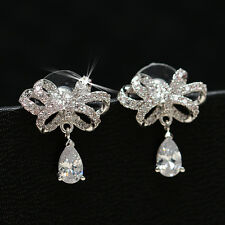 Fashion Solid 925 Sterling Silver Natural Zircon Bowknot Ear Stud Earrings
