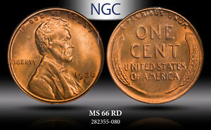 1936-S LINCOLN WHEAT CENT NGC MS 66 RD BEAUTIFUL UNC BU GEM WITH LUSTER