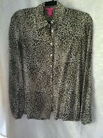 Sunny Leigh womens leopard print  silk blouse size M excellent shape pre owned