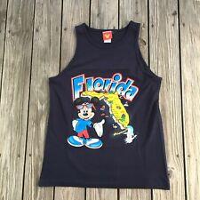 Vintage Mickey Mouse Disney Florida Map Tank Top Size Medium Blue