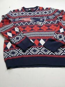 NFL Team Apparel Mens XL Extra Large New England Patriots Blue Christmas Sweater