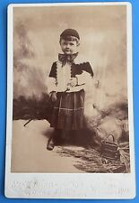 *Original* LITTLE BOY IN KILT With CANE 1890's Cabinet Photo MASSACHUSETTS