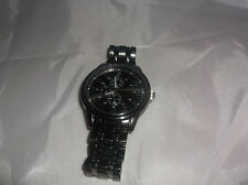 Men's Quartz FMD Chronograph Stainless Steel Back Black Face Military Time Watch
