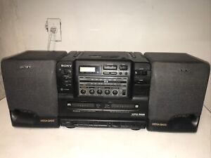 Vintage Sony Boombox CFD-555 CD Radio dual Cassette Mega Bass Tested & Works