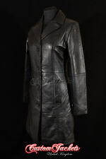 Ladies MIDDLETON Leather Coat Black Wax Classic Formal Long Leather Jacket 3457