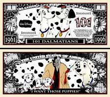 LES 101 DALMATIENS - BILLET ONE MILLION DOLLAR US ! Collection Film Walt Disney