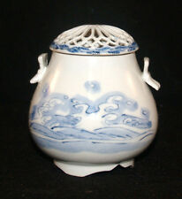 ANTIQUE CHINA CHINESE BLUE AND WHITE PORCELAIN CENSOR INCENSE BURNER BUTTERFLY