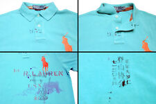 $125 Polo Ralph Lauren Big Pony Custom Fit Short Sleeve Aqua Blue Asian Shirt M