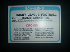 1979 Scanlens Rugby League Card Cronulla Sharks Team Check List Unmarked Mint