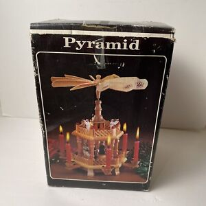 Vintage German Christmas Nativity Pyramid Wooden 2-Tier Carousel Windmill In Box