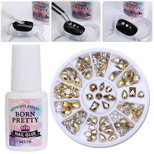 Gold Clear Double-sided Rhinestone 3D Decors 7g Nail Glue Fast-dry  Kit